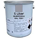 5 Liter Premium Garagenbodenbeschichtung | Hallenbodenbeschichtung | Bodenfarbe | Bodenbeschichtung | befahrbar | abriebsfest | RAL 7001 | Silbergrau | made by Wilckens